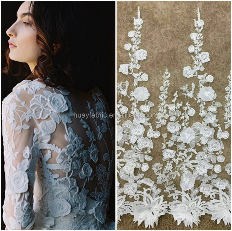 2015 Top grade double floral embroidery tulle lace ivory french lace for Bridal dress lace HY0290
