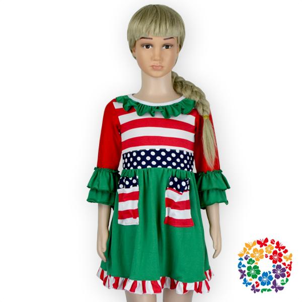 Latest Design Little Children Christmas Dresses Red Stripes Dress