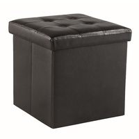 Faux Leather Storage Ottoman / Foot Stool - Dark Brown