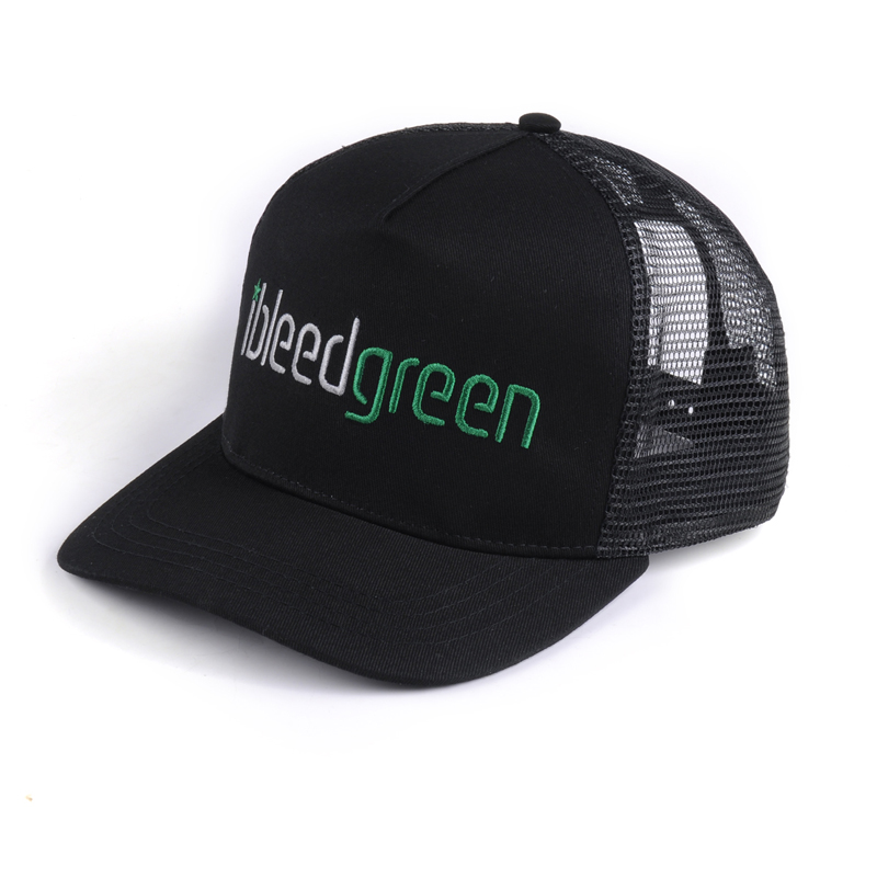 Özel 3D Işlemeli Siyah Örgü Snapback Şapka Hip Hop Düz Ağız Kamyon Şoförü Kap