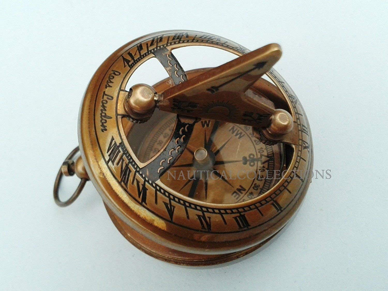 Antique Finish Brass Sundial Compass West London With Brown Leather Case Less Expensive Antiques Maritime Compasses