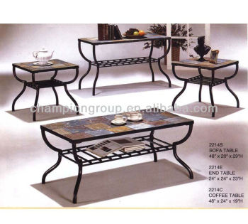 Mx 2214 Living Room Coffee Table Set With Metal Frame And Tile Top