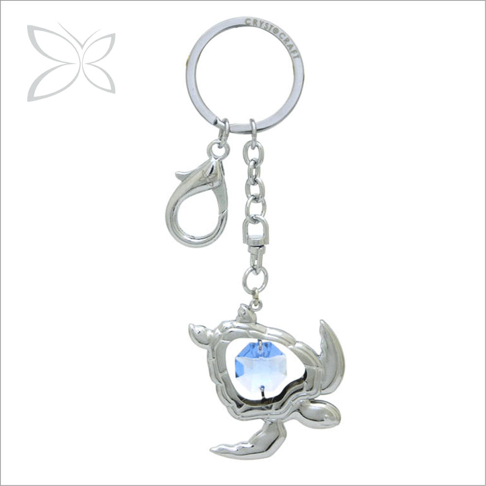 Fashion Special Price Sliver Plated Metal Crystal Sea Turtle Key Charm