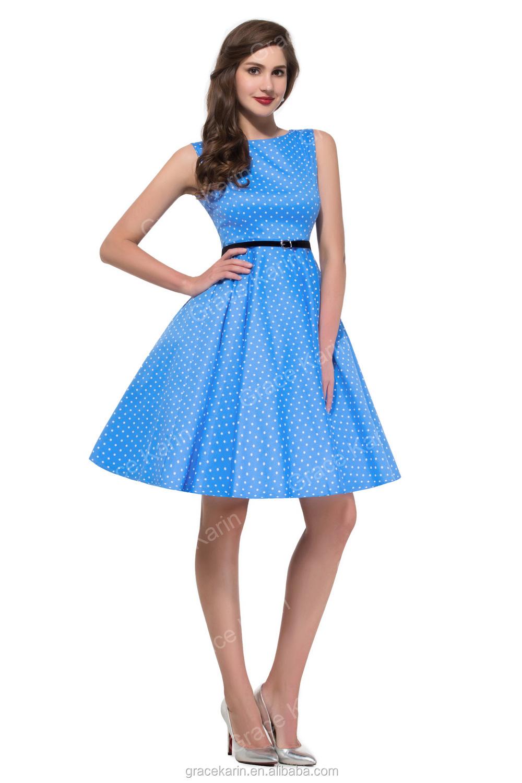 73e18e6a123 Grace Karin Summer Dresses Women Pinup Retro Robe Rockabilly 50s Vintage  Dress Plus Size XS-
