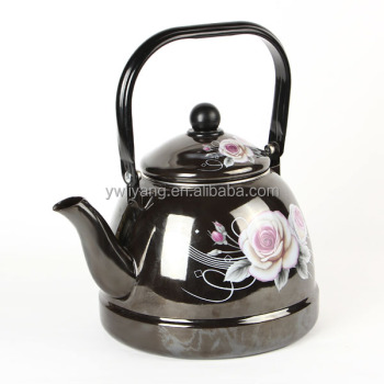 1.6L/2.5L/3L Black Enamel Kettle with Decal High Quality Enameled Teapot