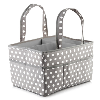 Polka Dot Large Baby Diaper Caddy Organizer Storage Bin for Diapers and Wipes