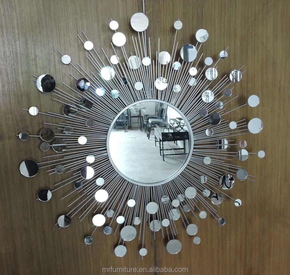 Silver Metal Sunburst Wall Mirror Decor