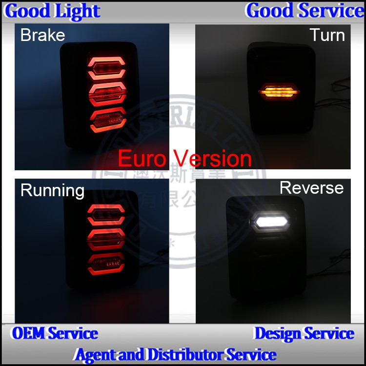 Guangzhou driving reverse brake led tail light for USA&EUROPE edition Je-ep wrangler 2007~2015