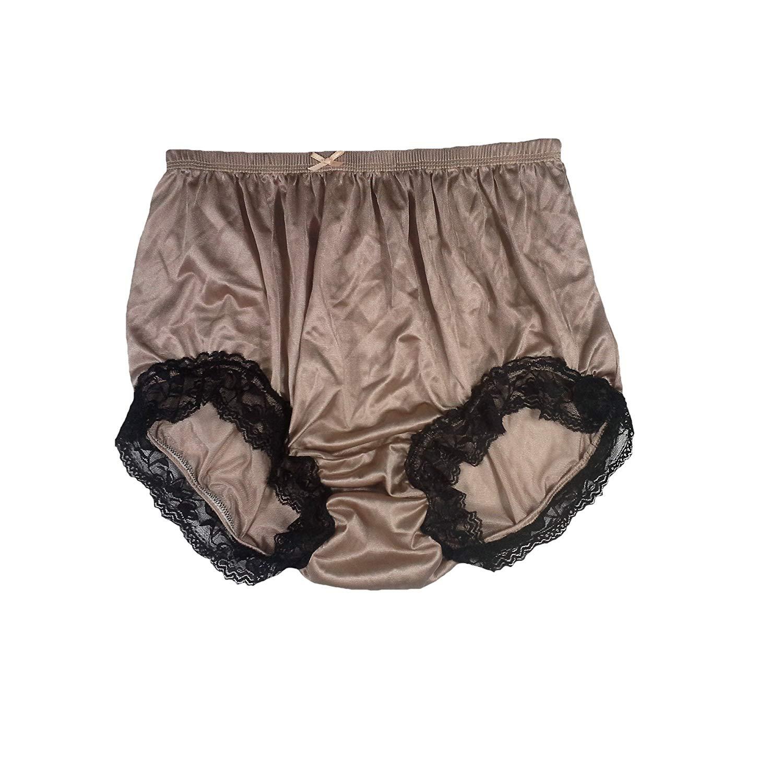 312474dc2 Get Quotations · NQH07D04 Brown Handmade Vintage Style Brief Panties Nylon  for Women Panty Underwear high Waist Undies