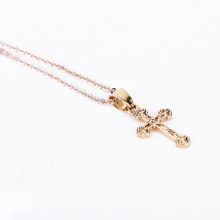 Wholesale Cross Necklace Jewelry Simple Gold Jesus Cross Gold
