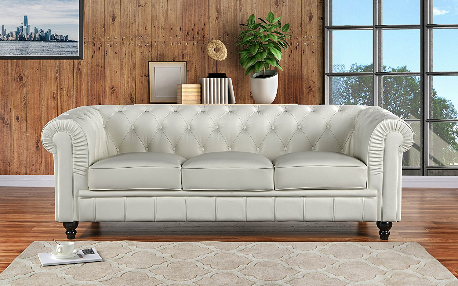 Get Quotations Clic Scroll Arm Real Leather Chesterfield Sofa Off White