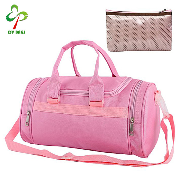 Multi-compartment pink ballet bag, nylon tutu bag with cosmetic pouch, dance duffle bag for travel