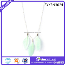 Best Promotional Gift Light Green Real Feather Necklace