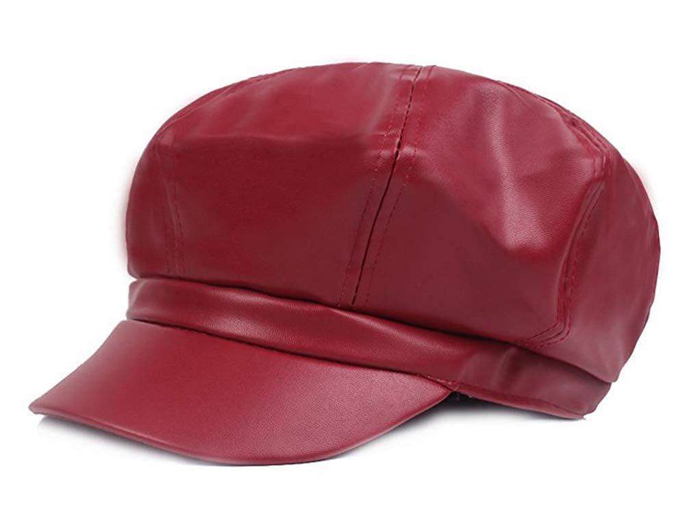 Get Quotations · Qunson Women s PU Leather 8 Panel Newsboy Cap Cabbie Hat  Visor Beret fb83943b748d
