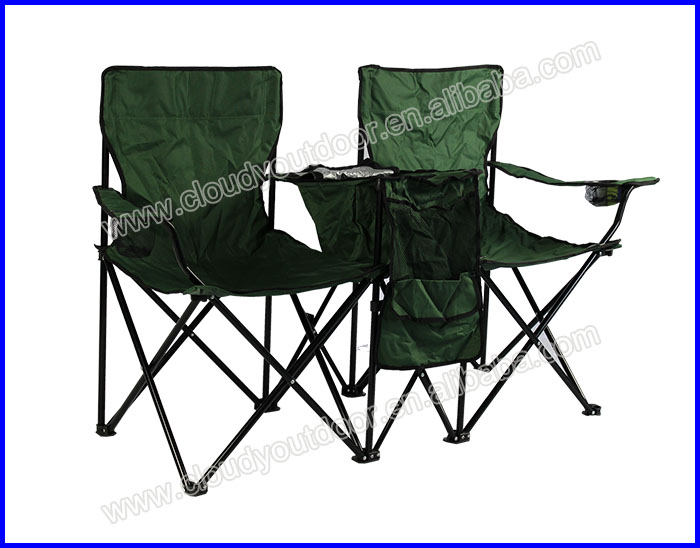 Double Seat Camping Chair With Umbrella Outdoor Folding