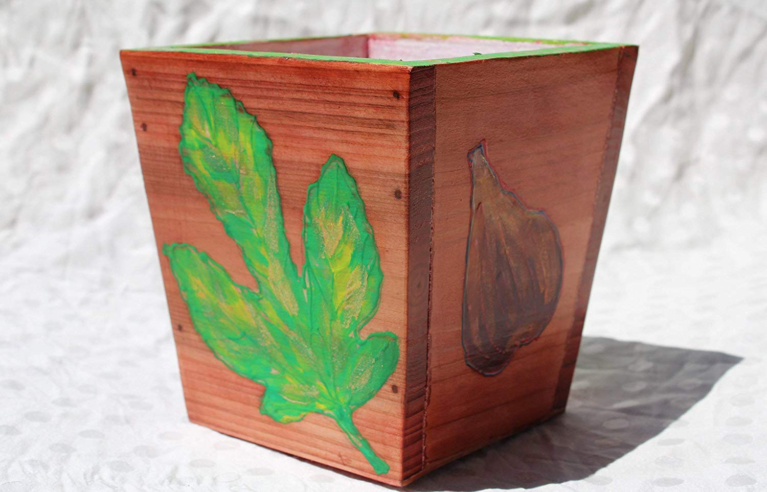 SALE!!!20% OFF,Hand Painted Pot with Acrylic Green Leaf Fig,Wooden Hanging,Pots made of Wood,Green Leaf Fig Wooden Planter,Green Leaf Fig in Pot,Miniature Wall Art,Wedding Decoration,Hand wood Fig.