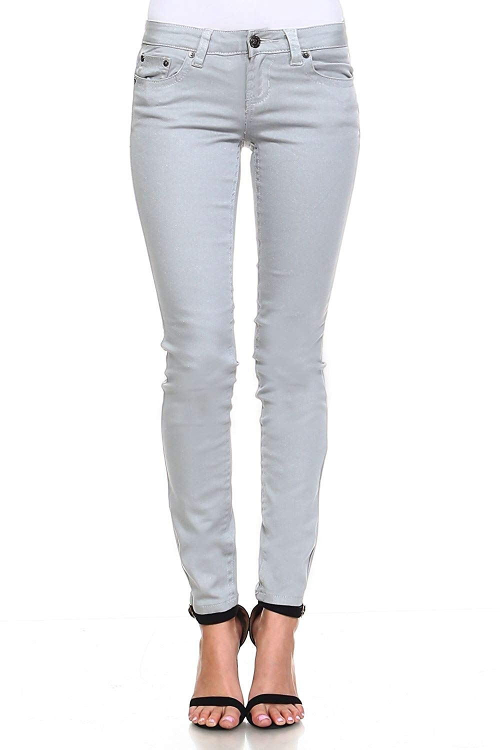 6ac9883aa1a05 Get Quotations · Request Jeans Juniors Pants Skinny Mid-Rise Stretch Metallic  Jeans 5-Pocket Style