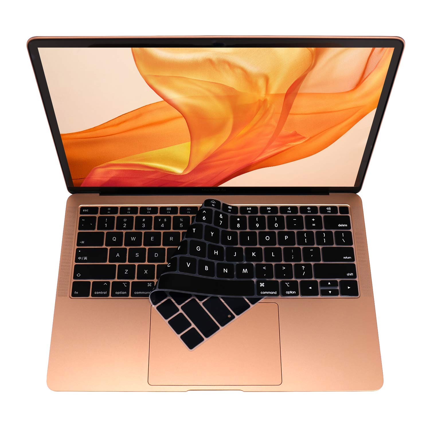 Dust-Proof Silicone Keyboard Cover For Macbook Air A1932 Touch ID Black+Clear