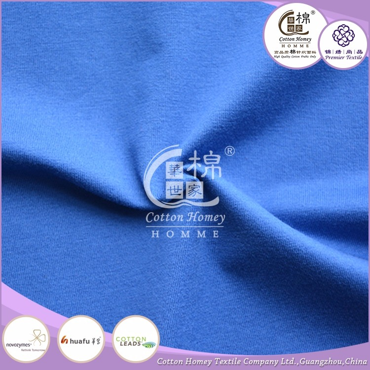 High quality twin-cord single jersey men t shirts 100% cotton fabric plain dyed cotton shirt fabric for Spring Clothing