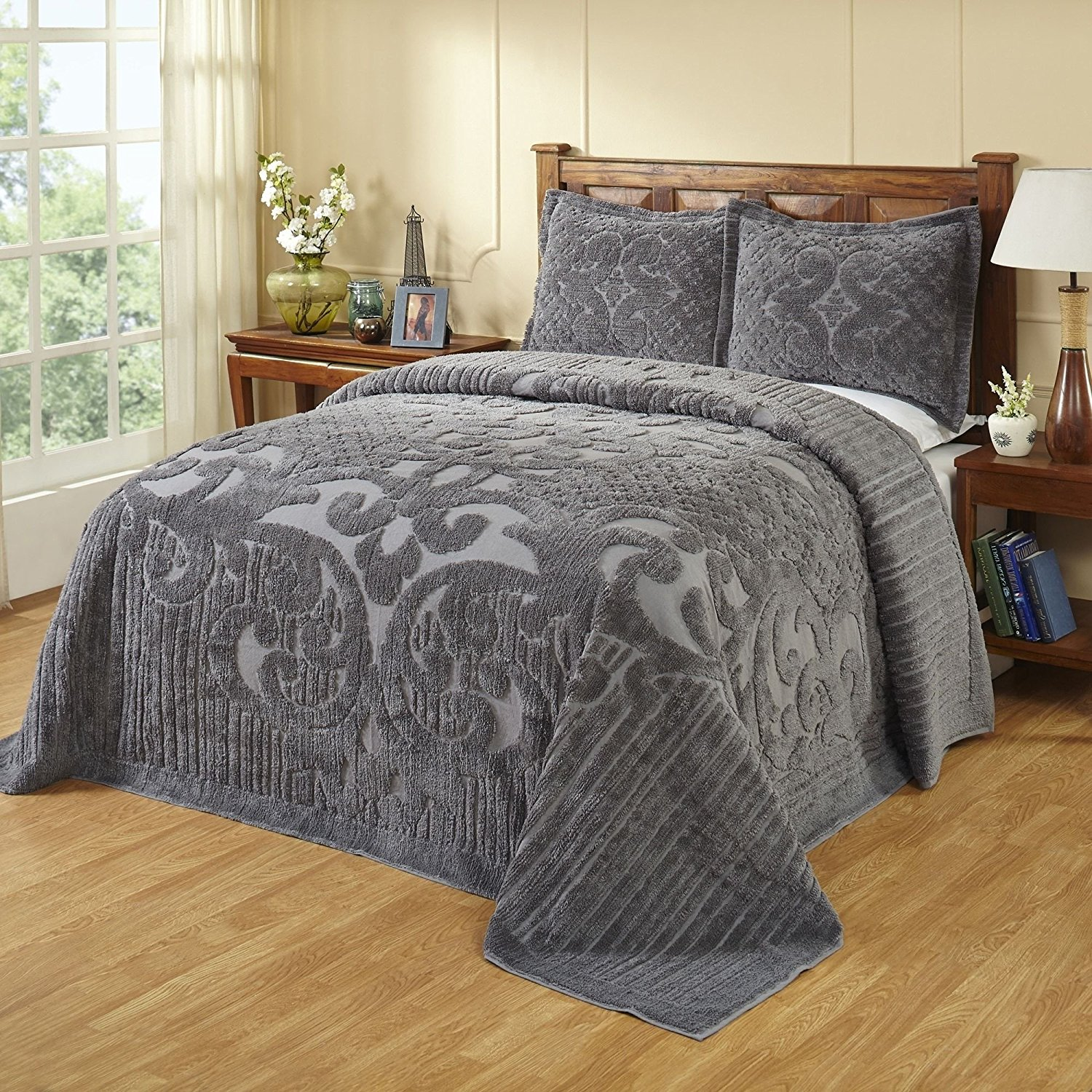 C&U 1 Piece Grey Oversized Chenille Bedspread King, Gray Medallion Pattern Oversize to The Floor Extra Long Bedding, Wide Drapes Over Edge Drops Down Shabby Chic French Country Damask Vintage, Cotton