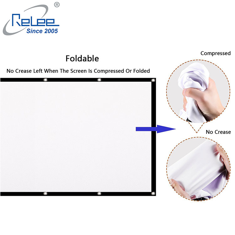 RELEE Projector Screen 100 Inch 16:9 HD Foldable Anti-Crease Portable