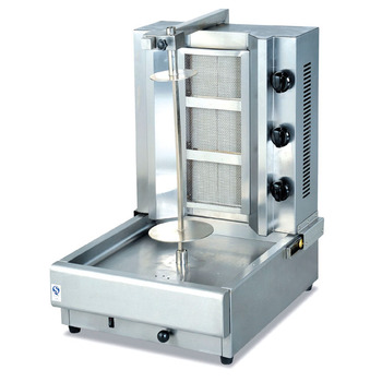Hot doner kebab equipment with grill with 3 burners