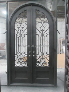 residential steel arched double entry doors