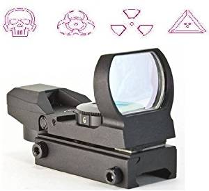 The Global Sportsman Tactical Rifle Shotgun Pistol 4 Reticle Red Dot Open Reflex Sight Scope Fits Any Picatinny / Weaver Base Mount with 7 Brightness Settings (Warfare)