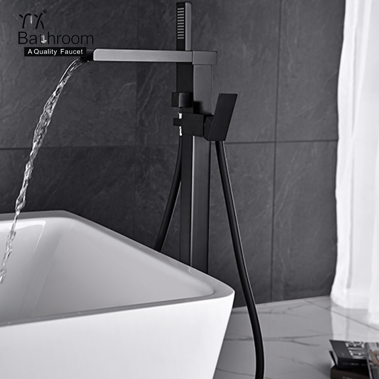 Stand alone style Contemporary  waterfall faucet matter black floor standing shower set