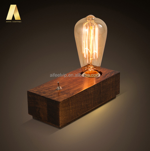 Simple style retro wooden base antique wood color use led filament edison bulb adjustable table lamp for coffee table or bar