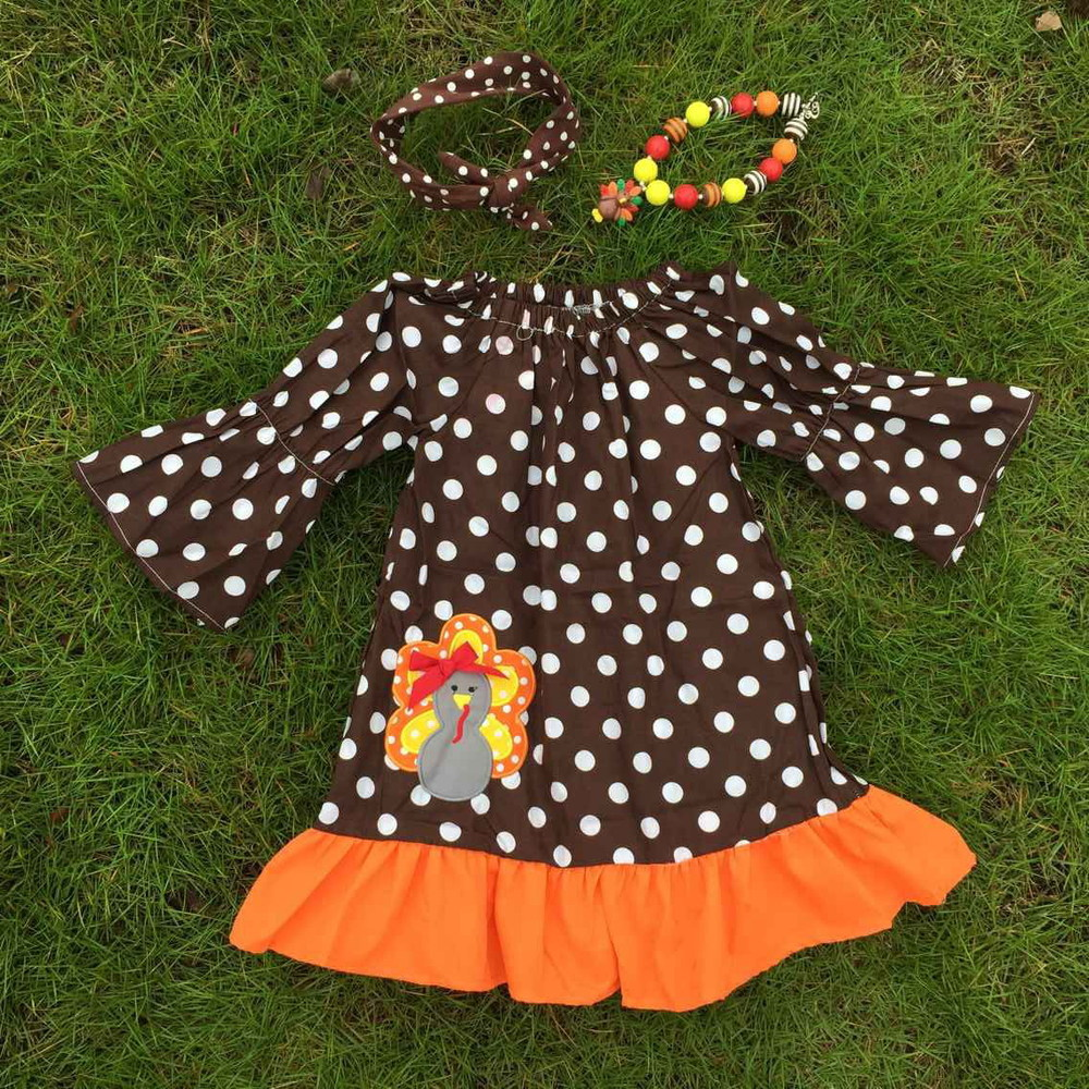 54f1b8c599fb girls thanksgiving dress turkey dress brown white polka dot dress ruffle  dress with necklace and bow