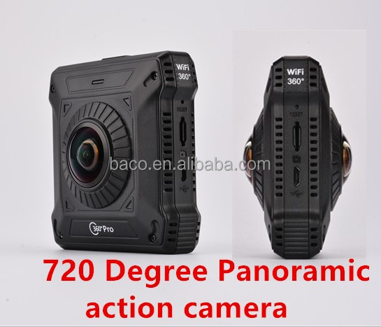 4K 720 full vision Wifi Camera Ultra Sport Action camera 720 Degree Panoramic VR 360 degree dual camera