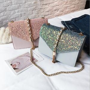 wholesale hot-selling sequin shoulder bag matching tassel crossbody bag tide square bag for college
