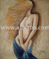 Nude lady with long hair oil painting