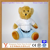 Eco-friendly realistic plush brown teddy bear with clothes toy for kids