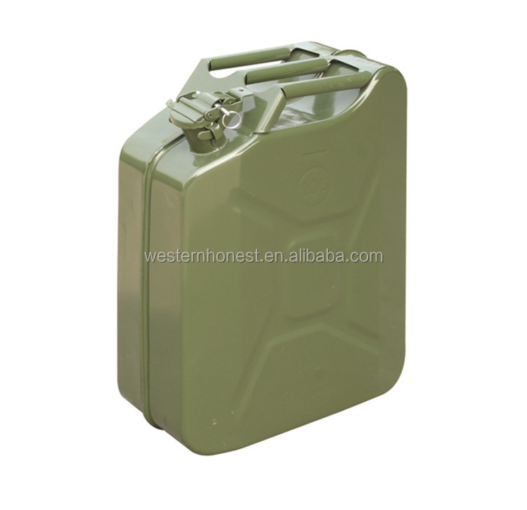 20L JERRY CAN GREEN METAL FUEL PETROL DIESEL OIL 20 LITRE GERRY CONTAINER CAR