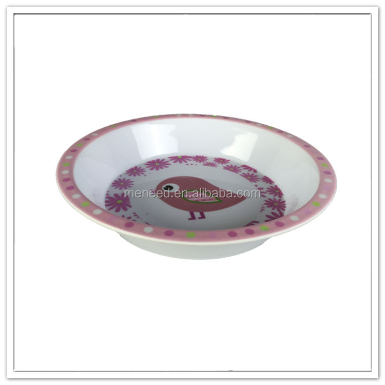 Food safety round melamine little bird printed plastic kids food bowl