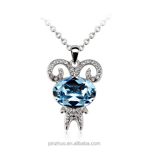 necklace jewelry 2015,white gold necklace with blue crystal pendant