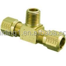 "Wholesale Brass Tee Union 1/2"" Equal Tee Brass Compression Pipe Fitting"