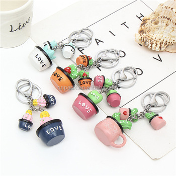 High quality factory direct sale creative potted resin key ring