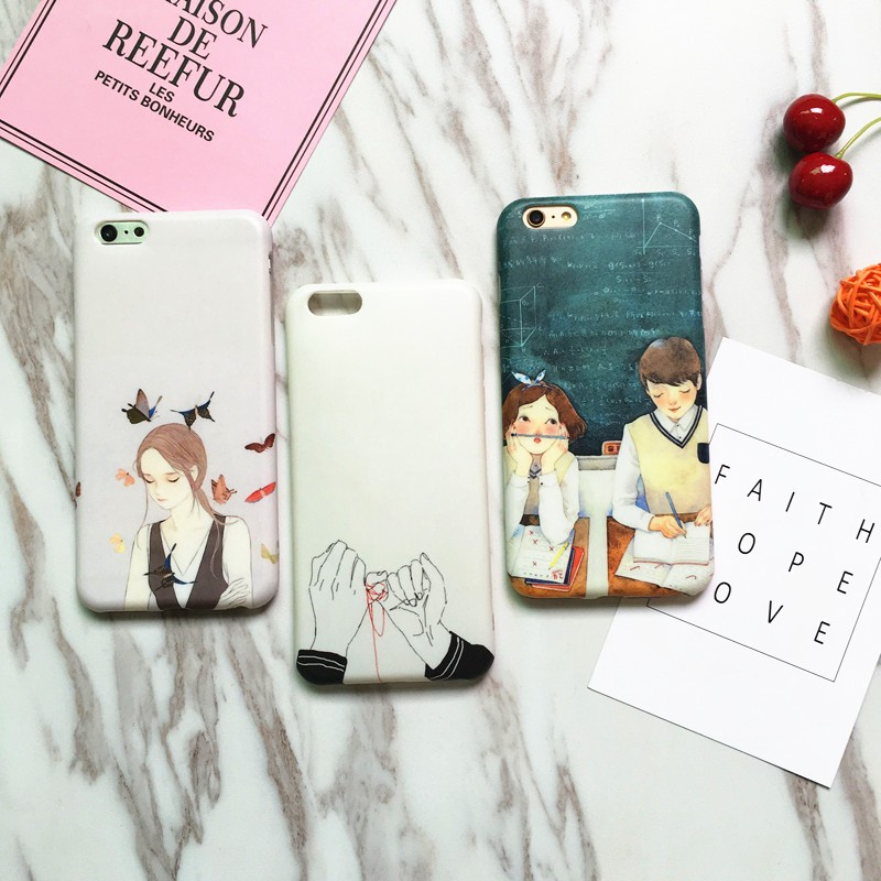 Factory Price Soft TPU Couple Doodles IMD Phone Accessories For iphone7S