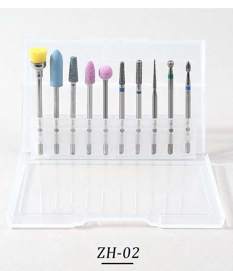 10 Pcs/set Cuticle Clean Nail Art Drill Bit  strong carbide Nail Drill For Manicure Pedicure Nail Tool