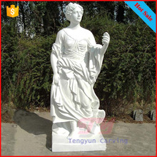 Western popular stone antique greek lady statue white marble hand carved female art sculpture