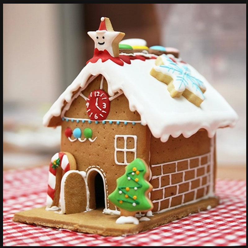 Christmas Gingerbread House DIY 3D Mold Biscuits Stainless