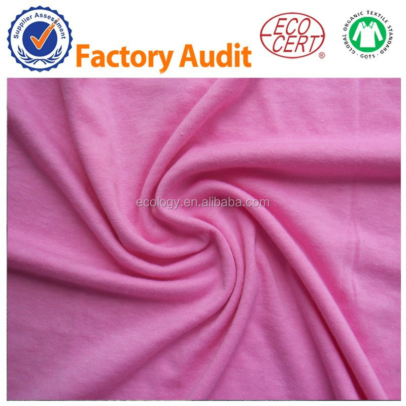 100% Certified Organic cotton Dyed Knitted fabric 26S 160GSM
