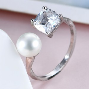 One sterling silver color pearl ring settings indian ladies white gold finger ring