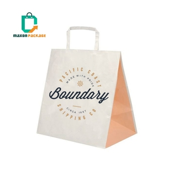 Eco Friendly Packaging Bag Recyclable Custom Color Printed Brown Restaurant Takeaway Fast Food Kraft Paper Bag With Logos