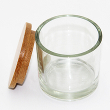 Glass jar candle holder candle jar with wood/bamboo lid cover