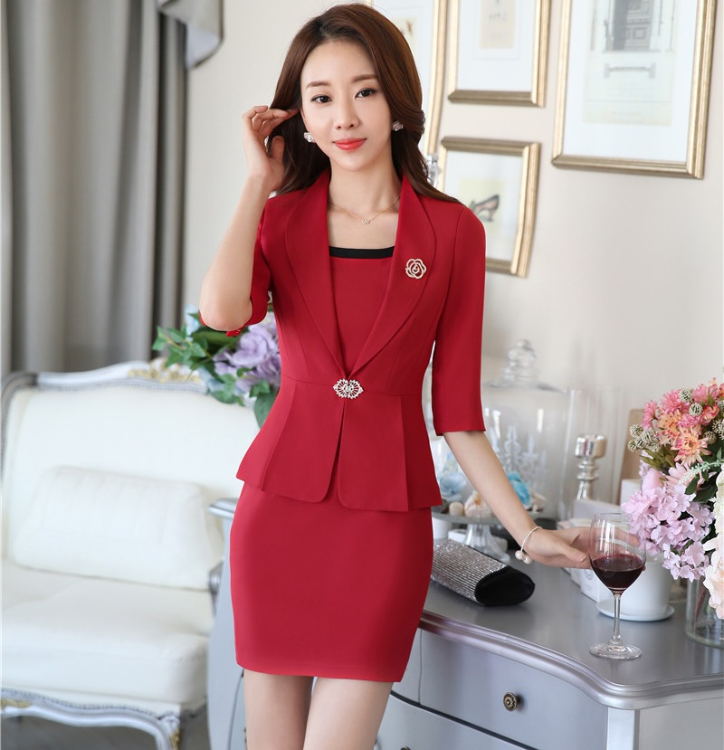 f34a3836e New Professional Formal Uniform Style Business Work Wear Suits Blazer And  Dress Ladies Office Fashion Women