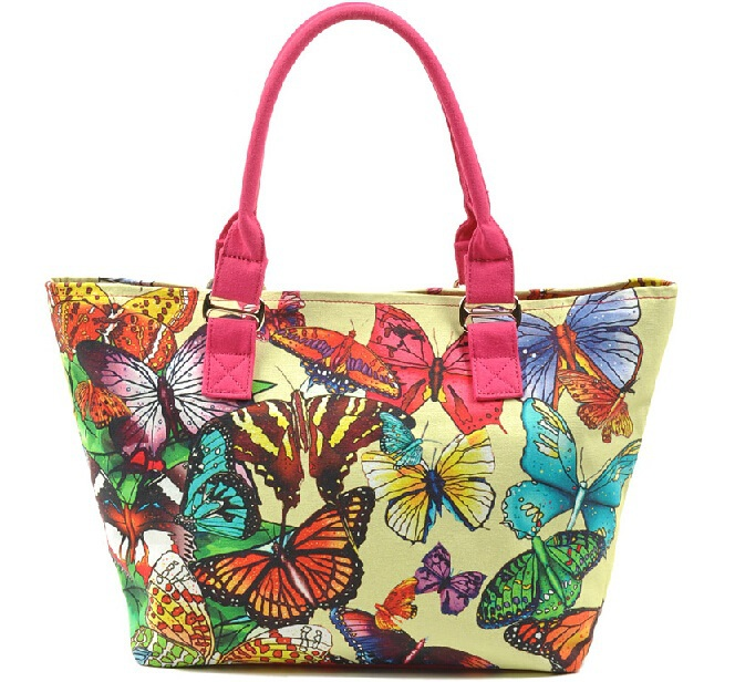 Waterproof Red Canvas Beach Tote Bag Sea Flower Design Zipper ...